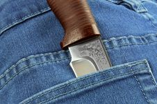 Free Knife In The Pocket Of Jeans Stock Photos - 36577133