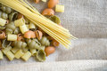 Free Uncooked Pasta On Natural Fabric Stock Photography - 36581552