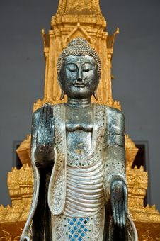 The Metal Standing Buddha With Golden Pagoda In The Temple In Th Stock Image