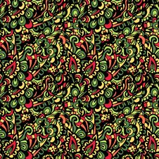 Free Seamless Colorful Paisley Vector Pattern Stock Photography - 36582042