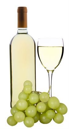 Wine Bottle, Glass And Grapes Stock Image