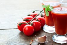 Tomato Juice, Tomatoes And Spices Stock Photo