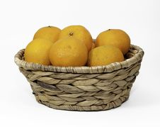 Free Clementine Oranges In A Wicker Basket Stock Image - 36591391