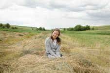 Free Girl In Hay  With Clouds Stock Images - 36594214