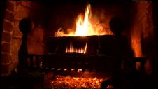 Free Warm, Soothing Fireplace Fire Stock Photos - 36597143