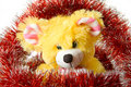 Free Toy Mouse And Red Cristmas-tree Tinsel Royalty Free Stock Images - 3669739