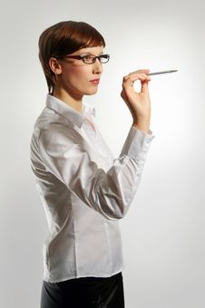 Holding Up Pen Royalty Free Stock Image