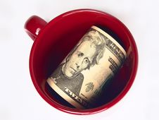 Free US 20 Dollars Bills In A Mug Stock Photos - 3661923