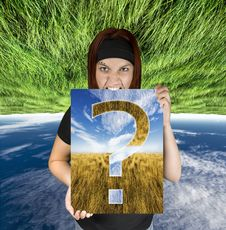 Free Angry Girl Holding A Question Canvas Royalty Free Stock Photo - 3664165