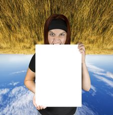 Free Angry Girl Holding A White Canvas Stock Images - 3664274