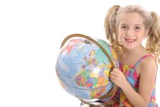 Free Happy Little Girl Holding Globe Stock Images - 3665064