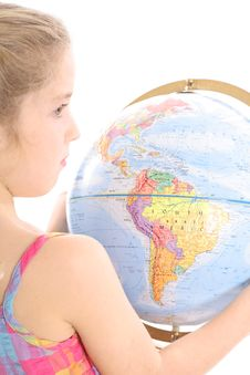 Free Little Girl Holding Globe Royalty Free Stock Photos - 3665078