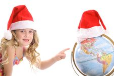 Free Happy Little Santa Girl Point Royalty Free Stock Images - 3665129