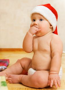 Free Baby In Christmas Hat Royalty Free Stock Photography - 3666437