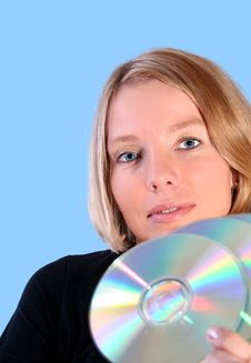 Free Woman Holding CD Stock Photo - 3668250