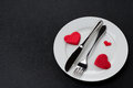 Free Fork, Knife And A Red Heart On A Plate Stock Photography - 36603092
