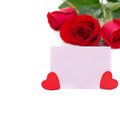 Free Pink Card For Greetings, Hearts And Red Roses, Isolated Royalty Free Stock Images - 36603139