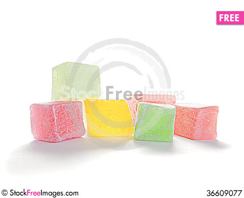 Free Turkish Delight Isolated Royalty Free Stock Photography - 36609077