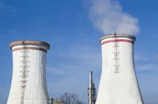 Free Two Cooling Towers Royalty Free Stock Photos - 36601268