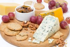 Free Assorted Cheeses With Mold, Grapes, Crackers, Jam And Nuts Royalty Free Stock Photos - 36602918