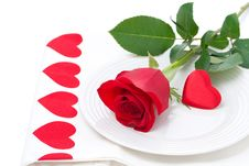Free Festive Table Setting With Rose And Heart Royalty Free Stock Image - 36603096