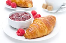 Fresh Croissant, Raspberry And Jam For Breakfast Stock Images