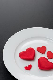 Red Hearts On A White Plate, Close-up Stock Photos