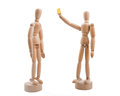 Free Wooden Referee Shows Yellow Card To Player Stock Photography - 36617452