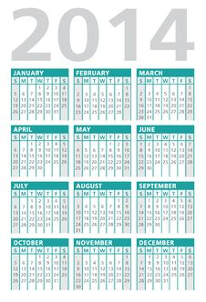 Free Calendar 2014 Turquoise Royalty Free Stock Photos - 36610678