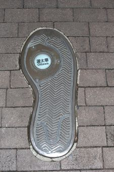 Artwork Of A Footprint In Ottawa, Canada Stock Photography