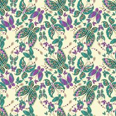 Free Seamless Pattern With Butterfly Stock Image - 36619101