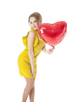 Woman Holding Red Heart Balloon. Royalty Free Stock Photo