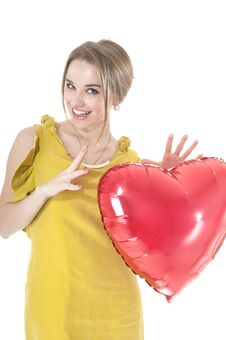 Free Funny Woman Holding Red Heart Balloon. Stock Photos - 36620283