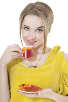 Dreamy Woman With Cup Of Coffee On A Plate Stock Photo