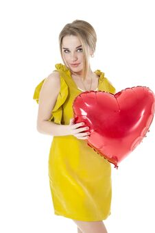 Woman Holding Red Heart Balloon Stock Photo
