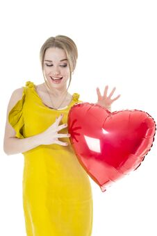 Funny Woman Holding Red Heart Balloon Royalty Free Stock Photos