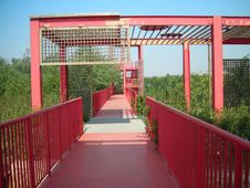 Red Iron Bridge Stock Images