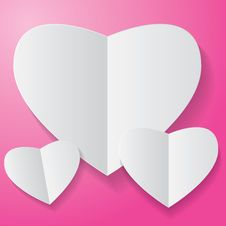 Free Paper Heart On Pink Background Royalty Free Stock Photos - 36627618