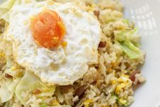 Fried Rice With Chinese Sausage  And Salted Egg Yolk Stock Photography