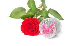 Free Small Scarlet Rose And Gift Stock Image - 36631371