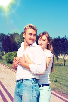 Free Beautiful Girl Embraces The Guy Stock Photos - 36631993