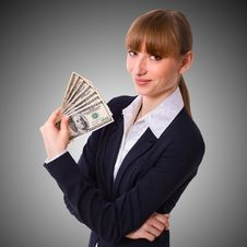 Free Business Woman Holding Cash Dollars Royalty Free Stock Image - 36632066