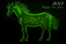 Free Green Horse 2014 Royalty Free Stock Photo - 36635645