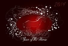 Free Sparkling Red Horse 2014 Stock Photography - 36636232