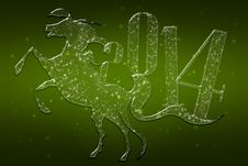 Free Sparkling Green Horse 2014 Royalty Free Stock Photos - 36637238
