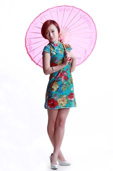 Chinese Girl Wearing A Cheongsam Umbrella Stock Photography