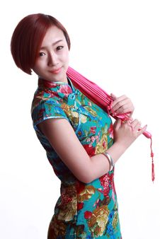Chinese Girl Wearing A Cheongsam Umbrella Royalty Free Stock Images