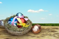 Easter Eggs In A Nest Royalty Free Stock Images