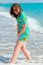 Free Beautiful Brunette On The Beach Royalty Free Stock Image - 36655376