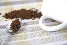 Close Up Coffee In Spoon Royalty Free Stock Photo